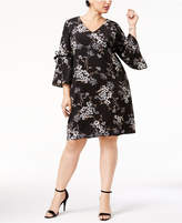 Jessica Howard Plus Size Flutter-Sleeve Shift Dress