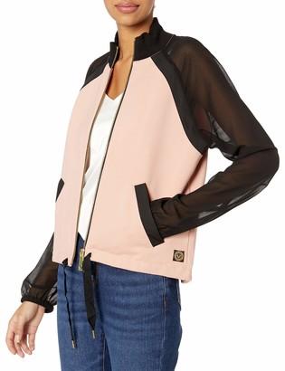 True Religion Women's Sheer Sleeve Track Jacket