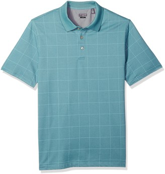 Van Heusen Men's Size Fit Flex Short Sleeve Stretch Windowpane Polo Shirt