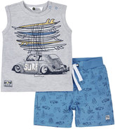 Petit Lem Surf Graphic Tank & Shorts Set, Gray, Size 12-24M