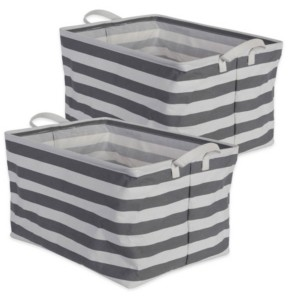 Design Imports Polyethylene Coated Cotton Polyester Laundry Bin Stripe Rectangle Extra Large Set of 2