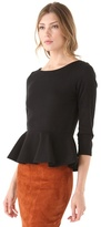 Alice + Olivia Regina Peplum Top with Long Sleeves