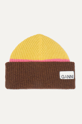 Ganni Ribbed Striped Wool-blend Beanie - Lime green