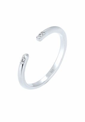 Elli Women Silver 925 Sterling Silver Crystal Adjustable Ring