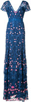 Marchesa V-neck floral dress - women - Nylon - 0