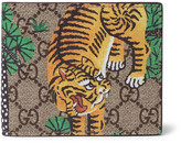 Gucci Textured-Leather and Printed Coated-Canvas Billfold Wallet