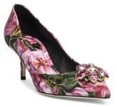Dolce & Gabbana Crystal-Embellished Rose Brocade Point Toe Pumps