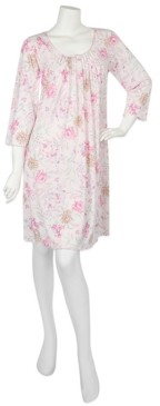 Miss Elaine Plus Size Pleated Floral-Print Nightgown
