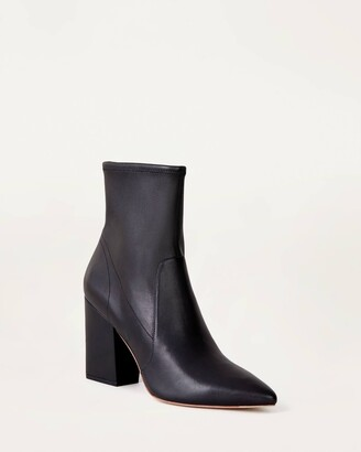 Loeffler Randall Isla Slim Ankle Bootie Black Leather