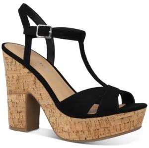 Sun + Stone Jamie T-Strap Platform Dress Sandals, Created for Macy's Women's Shoes