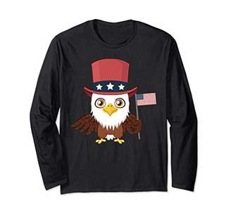 Bald Eagle USA American Flag Hat 4th of July Gifts Patriotic Long Sleeve T-Shirt