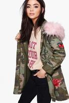 Boohoo Olivia Boutique Camo Embroidered Faux Fur Hood Parka