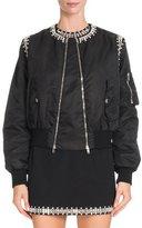 Givenchy Crystal-Trim Nylon Bomber Jacket, Black