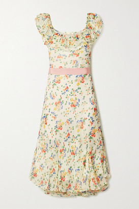 LoveShackFancy Faith Grosgrain-trimmed Printed Silk Crepe De Chine Midi Dress - Off-white