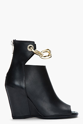 Rick Owens Black leather Chain Peron Wedge boots