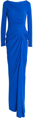 Badgley Mischka Draped Embellished Jersey Gown