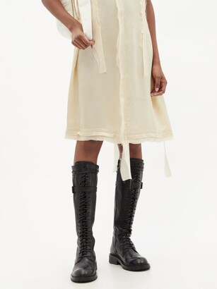 Ann Demeulemeester Danny Wraparound-lace Leather Knee-high Boots - Black