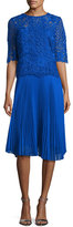 Rickie Freeman For Teri Jon Lace & Pleated Chiffon Cocktail Dress, Blue
