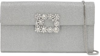 Roger Vivier Flower Buckle Glitter Envelope Clutch