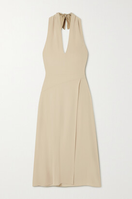 Vince Cutout Crepe Halterneck Midi Dress - Cream
