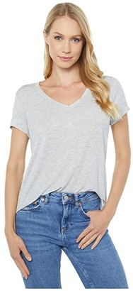 Majestic Filatures Soft Touch Semi Relaxed V-Neck T-Shirt (Brume Chime) Women's Clothing