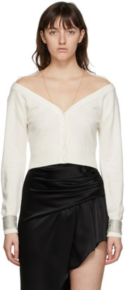 Alexander Wang Off-White Crystal Cuff Cropped Cardigan