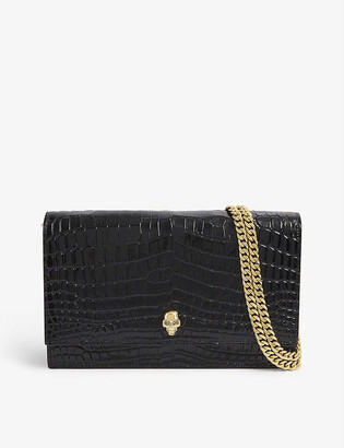 Alexander McQueen Croc-embossed medium leather satchel bag