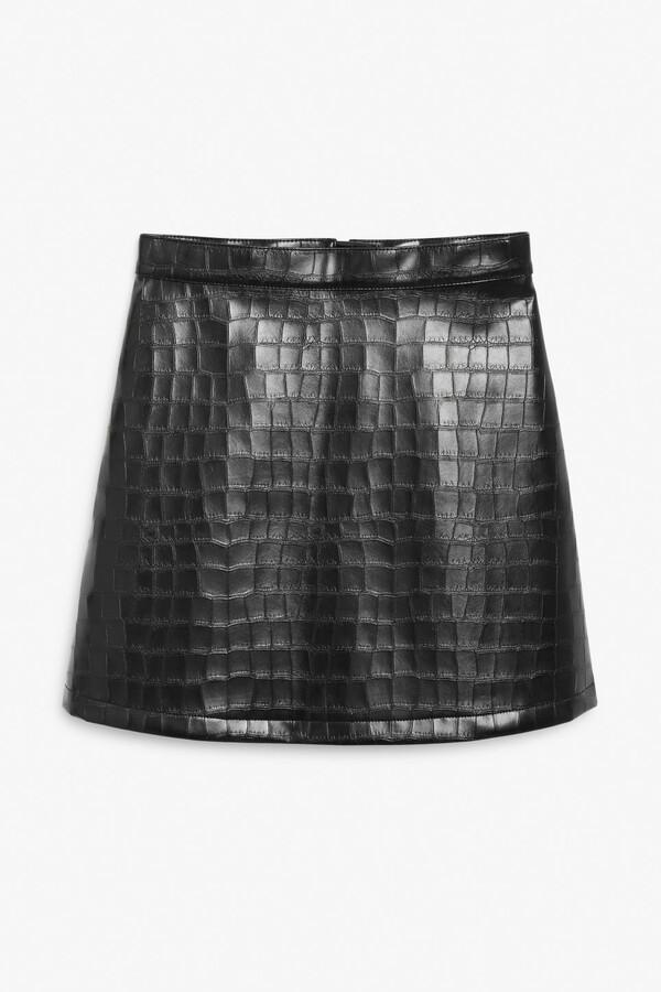 Monki Faux croc mini skirt