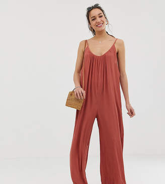 Asos Tall DESIGN Tall low back jumpsuit in crinkle-Brown