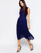 Warehouse Premium Lace Insert Midi Dress