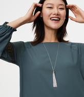 LOFT Pave Chain Tassel Necklace