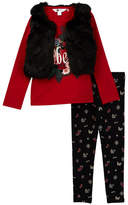 Petit Lem Faux Fur Vest, Top, & Legging Set - 3-Piece Set (Toddler & Little Girls)
