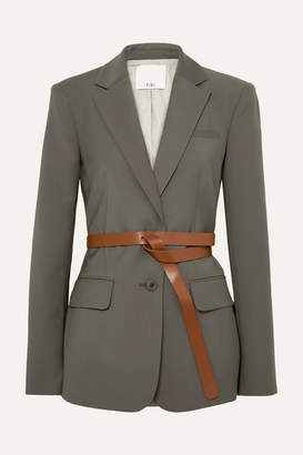 Tibi Tablier Belted Woven Blazer - Dark gray
