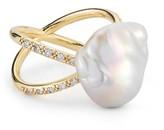 Mizuki Women's Pearl & Diamond Crossover Ring