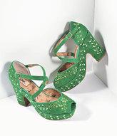 Miss L Fire Green Suede & Gold Studs Platform Peep Toe Selina Heels Shoes
