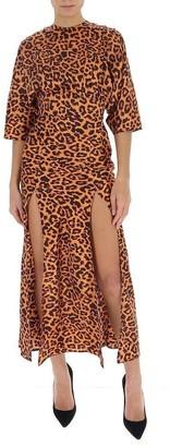 ATTICO Leopard Printed Slit Dress