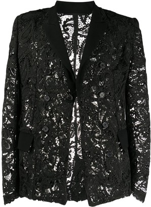 Ann Demeulemeester Lace Single-Breasted Blazer