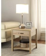 Linon Old School Square Top End Table with Drawer