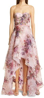 Marchesa Notte Strapless Floral Organza High/Low Gown