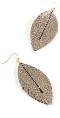 francesca's Penelope Leather Drop Earrings - Pewter