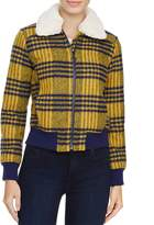 Louise Paris Faux Fur Trim Plaid Puffer Jacket - 100% Exclusive