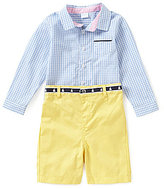 Edgehill Collection Baby Boys Newborn-24 Months Long-Sleeve Gingham Shirt & Solid Shorts Set