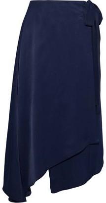 Les Héroïnes The Maya Asymmetric Satin Wrap Skirt