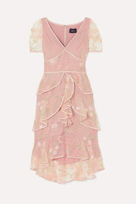 Marchesa Tiered Satin-trimmed Embroidered Tulle Dress - Blush