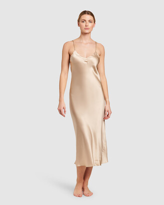 Ginia Women's Gold Chemises - Silk V Neck Long Nite - Size One Size, 8 at The Iconic
