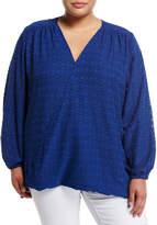 Melissa McCarthy Diamond-Print Drape-Front Blouse, Plus Size