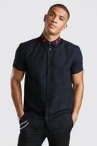 boohoo Mens Black Short Sleeve Star Embroidered Collar Shirt, Black