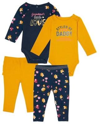 Garanimals Baby Girl Long Sleeve Bodysuits, Pants & Leggings 4-Piece Multi Pack
