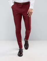Selected Super Skinny Suit Pants In Burgundy