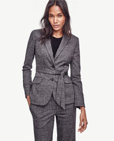 Ann Taylor Petite Glen Plaid Belted Jacket